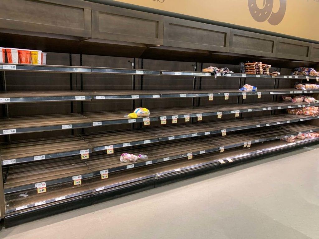 Empty supermarket coronavirus